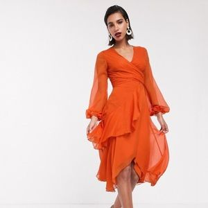 ASOS wrap waist midi dress with long sleeve